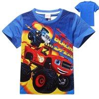 Monster Machines Blaze nuevos niños de los niños del verano de los muchachos juntan con camisas de algodón de los bebés del niño rematan las camisetas para los niños de 2 a 7 años de edad ropa de coche