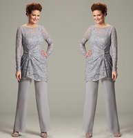 Wholesale 2016 mother of the bride pant suits with illusion scoop neck mother of bride lace long Sleeve chiffon janique mother dresses DG