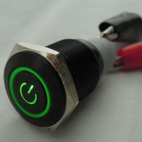 Wholesale V A mm Green Symbol amp Circle LED Black Metal Switch Push Button ON OFF