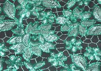 knit fabric - Water soluble chemical guipure lace fabric with gemstones sequins in colors Embroidery knitting French net lace fabric