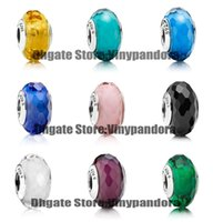 Cheap 9pcs 925 Sterling Silver Fascinating Faceted Murano Glass Beads Fit Pandora Chamnilia Jewelry Charm Bracelets & Necklaces