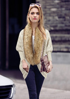 Wholesale 2015 New Fashion Fur Trim Sweater for Women Clothes Winter Loose Sweater Cardigan Europe High end Lady Bat Sleeve Knit Coat Cape Poncho