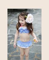 Cheap New 2015 summer girls Swimwear Plaid bikini kids two-piece bathing suit short skirt children swimsuit 5 different size 5set lot ab741