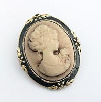 acrylic cameos - New Hot Selling Beauty head Vintage Brooch Retro Cameo Individuality Pin Brooch Collar pin Retro Corsage Pin Y009