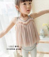 Cheap 2015 Korean children's clothing Children harness dress Girls sling gauze dress vest dress princess dress