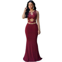 Cheap club dress strapless Claret Nude Mesh robe de soiree longue embroidered lace vestidos de fiesta mermaid   trumppet 2016 60831