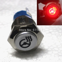 Wholesale 19mm Red LED Steering Wheel Heated Button Switch LED car metal Push Button on off switch