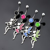 angle wing ring - Fashion Korean Style Stainless Steel Rhinstones Wings Angle Belly Button Rings Navel Ring Body Piercing Jewelry Colors for choices