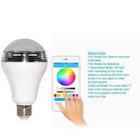al por mayor new led lamp-Bombilla inteligente de control de altavoz de la música nueva de audio inalámbrico de altavoces LED RGB del color de la luz E27 Lámparas D5528B