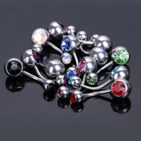 Wholesale 12pcs Wholesalee Steel Crystal Belly Button Navel Ring Body Piercing Jewelry