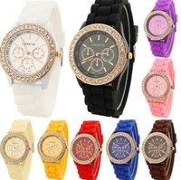 Wholesale 12 Colors Fashion Casual Shadow Geneva Crystal Diamond Rubber Silicone Watch Women Quartz Watches Analog Wristwatch