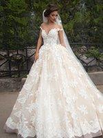 barbara dress - vestidos de novia Ball Gown Wedding Dresses Sheer Nude Tulle Crew Neckline Chapel Train Lace Bridal Gowns Inspired by Millanova Barbara