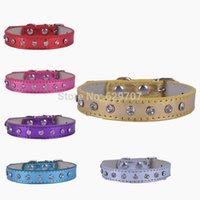 leather supplies wholesale - Personalzied Flashing Leather Dog Collar One Row Crystal Studded Collar For Dogs Designer Small Pet Dog Supplies