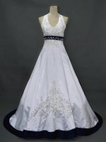 blue and white wedding dress - 2015 Wedding Dresses Blue Beaded Embroidery Lace up Satin A Line Bridal Gowns Court Train White and Blue Wedding Dress