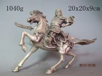 Wholesale China Folk White Copper Silver Ride Horse Dragon GuanGong GuanYu Warrior Statue