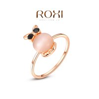 Cheap ROXI Brand Free Shipping Gift Rose Gold Plated Statement Wintersweet Wedding Opal Ring Fashion Jewelry