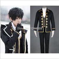 Wholesale Gintama Silver Soul sakata gintoki cosplay clothes Costume okita sougo Shinsengumi Full set coat waistcoat pants scarf