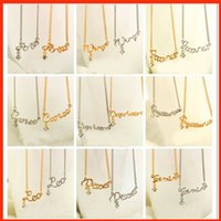 zodiac charms - 12 Zodiac Pendants Necklace silver gold star signs Constellation charm necklaces crystal pendants men women believe fashion jewelry