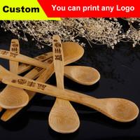 bamboo tea spoon - Bamboo Coffee Spoons Creative Tableware Kusunoki Baby Milk Honey Spoon Wood Dinnerware Tea Spoon Receive Custom