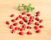Wholesale New Cute Wooden Ladybird Ladybug Sticker Children Kids Painted adhesive Back DIY Craft Home Party Holiday Decorations