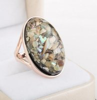 big rose rings - Fashion Jewelry Rose Gold Plated Abalone Shell Ring Bohemia Style Big Women Ring High Quality Birthday Gift
