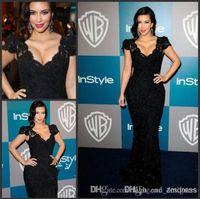 Cheap 2016 kim kardashian evening Dress Black Mermaid V-neck Crtstal Short Sleeve Lace celebrity red carpet Court Train Evening Gowns Prom Dresses