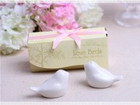 Wholesale 150sets Love Birds In The Window Ceramic Salt Pepper Shakers Wedding Favor For Party Gift with retail gift box Free DHL Fedex