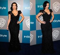 Wholesale Kim Kardashian Black Lace Mermaid Evening Dresses Sexy V Neck Cap Sleeve Golden Globe Awards Celebrity Dress Red Carpet Prom Gowns