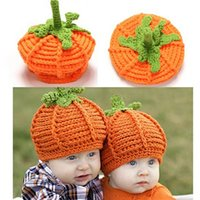 Cheap Infant Toddler Pumpkin hat Crochet Baby Pumpkin Hat Halloween Hat Baby girls boys beanie Photo Props Winter warm hat Free Shipping
