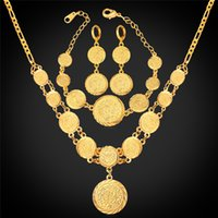 arab money - Coin Necklace Bracelet Earrings Women Muslim Arab Money Sign K Gold Plated Middle Eastern African Jewelry Set Vintage NEH882