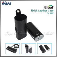 Wholesale Original iSmoka Eleaf iStick W Leather Cases Ultra Thin Light e Cig Battery Carry Leather Pouch Bags For iStick W With eGo Lanyard Ring