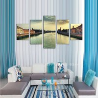 bank pictures - 5 Panels Canvas Beautiful scenery River bank Wall Art Picture Home Decoration Living Room Canvas Print Modern Painting