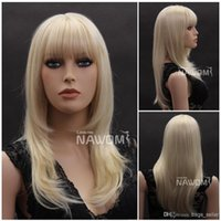 Wholesale blonde color long hair wig straight bang quot Synthetic Wig W3920