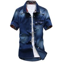 asia jeans - Fashion trend water wash wearing white Casual Cotton Shirts Mens Jeans Shirts men s short sleeve denim shirt Asia S XXL