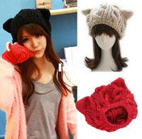 Wholesale New Arrive Lady Girls Winter Warm Knitting Wool Cat Ear Beanie Ski Hat Cap