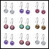 Cheap Nice Wholesale 20PCS (10Pairs) Good Quality 925 Sterling Silver 10mm Cubic Zirconia Woman Girl Candy Hook Dangle Earrings