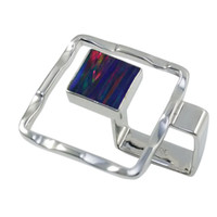 american dynamics - Pure handmade silver fashional mystic Japanese opal square shape in beautiful waved dynamics for R997