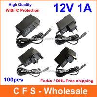 Wholesale 100pcs High Quality AC V to DC V A Power adapter Supply US EU UK AU Plug with IC Program DHL