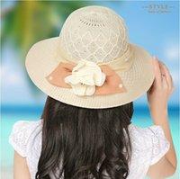 Wholesale Large Sun Shades Outdoor - Wholesale-Women's suns hat female sun protection sun-shading breathable outdoor large brim strawhat beach cap sun hat women visor beach