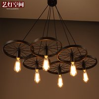 Wholesale loft creative personality retro restaurant bar American country wrought iron chandeliers light classic industrial style wheels pendant lamp
