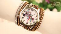 Wholesale 100pcs Women punk rivets leather watches diamond Braided Horse Watch Bracelet Watch fashion dress quartz watches for women
