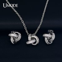 accent love necklace - ashion Jewelry Jewelry Sets UMODE White Gold Plated Cubic Zirconia CZ Accent Inspired Twist Love Knot Stud Earrings and Pendant Necklace