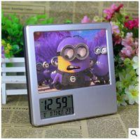 square vase - New LED Digital Alarm Clock DespicableMe Minion Multifunctional Photoalbum Pencil Vase Calendar Clock Music Alarm Desk Clock LJJC1658