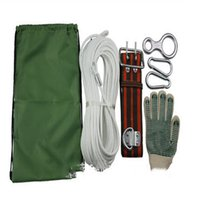 Wholesale 30m fire escape rope set include steel wire safety rope loop safety belt safety lock anti slip gloves rope bag