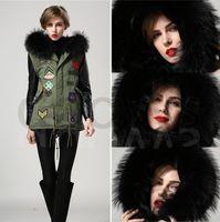 beaded leather jacket - Mrs fur black big real fur collar jacket beaded sexy girl warming coat jacket with leather sleeve