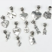 Wholesale 12Styles Mix Tibetan Silver LOVE Heart Big Hole Beads Fit Pandora Charm Bracelets Jewelry DIY