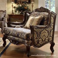 Combinação sofá em tecido estilo americano sala de estar sofá Villa poltrona sofá de madeira esculpida móveis