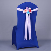 Wholesale Wedding chair sashes Wedding Party Banquet ribbon flower multicolor Chair Cover custom any colour shipping free
