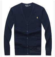 Wholesale Hot High quality pure color classic brand men s cotton v neck embroidery logo thin with long sleeve cardigan sweater