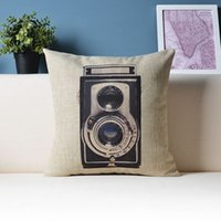 accent cameras - 18 quot Retro vintage cushion cover Camera pattern decorative pillowcase Home Decor Accent Throw pillows case cushions covers